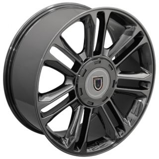 22 Black Chrome Escalade Wheels Rims Fit Cadillac GMC Chevy Set 0f 4