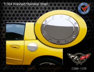 C5 Corvette Racing Style Polished Stainless Steel Gas Fuel Door Cover