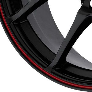 New 17X7 4 100 Trackstar 4 Lug Flat Black Red Lip Wheel/Rim