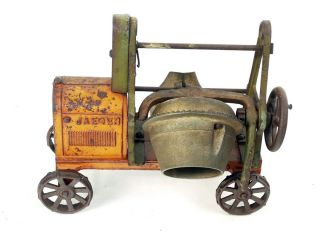 Antique Cast Iron Kenton Jaeger Spoke Rim Truck Cement Mixer Farm Toy