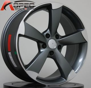 18X8 AUDI RS3 STYLE 5X112 +45 GUN METAL MACHINED FACE WHEEL RIM FIT