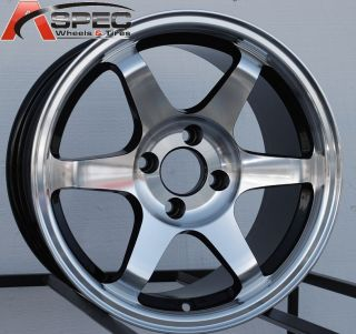 15X8 VARRSTOEN V1 4X100 +25 BLACK MACHINED FACE WHEEL FIT CIVIC SI
