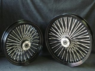 .25 DNA 52 FAT SPOKE BLACK FAT DADDY WHEELS 4 HARLEY SOFTAIL TOURING