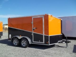 12 Enclosed Double Motorcycle Trailer Black Orange Slant Pkg 2012