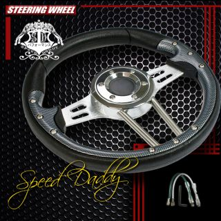 Universal PVC Leather Aluminum 33cm Racing Steering Wheel Black Silver