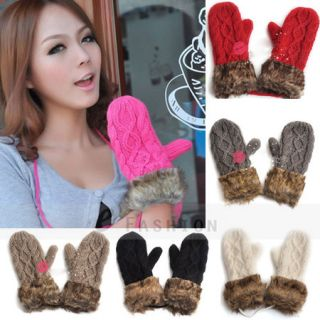 Women Ladies Warm Knitted Fleece Lined Gloves Mittens 122 0039
