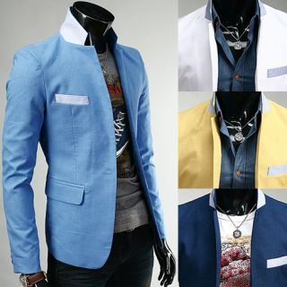 HAPPYMORI] Mens Premium Slim Fit Cotton Jacket Button Blazer HCR136