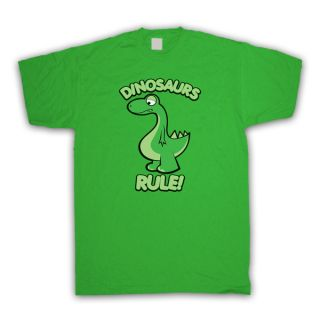 DINOSAURS RULE CUTE CARTOON RETRO STYLE T SHIRT ALL SIZES AND COLOURS