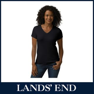 LANDS END Damen T Shirt Shirt Kurzarm V Neck Baumwolle