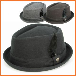 Pork pie Fedora Stingy Short Brim Feathered Hat PorkPie Fully Lined
