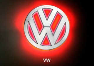 LED Car Decal Logo Red Light Color Auto Emblem Led Lamp For VW