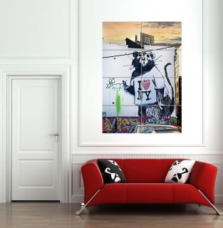 BANKSY RAT I LOVE NY GIANT WALL ART POSTER PICTURE PRINT HUGE B817
