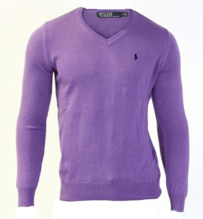 NEU RALPH LAUREN Pullover Gr XXL V Neck Purple Small Pony Shirt (ZB