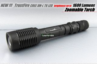 1600Lm CREE XM L T6 LED Zoomable Flashlight Torch +SET