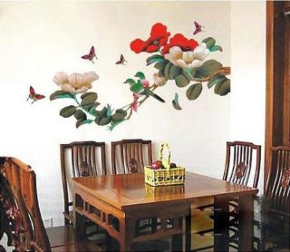 Removable JAPANESE FLOWER TREE BIRDS Butterflies WALL DECO MURAL