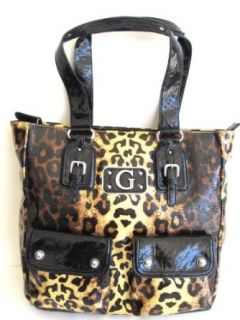 Guess Leopard Prints XLarge Tote Handbag, Gold/Black