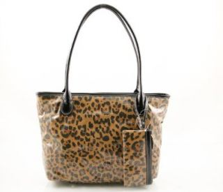 Giani Bernini Waxed Canvas Leopard Print Tulip Tote Handbag Shoes