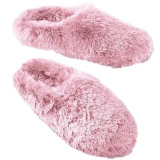 So Womens Plush Faux Fur Light Pink Fuzzy Slippers Shoes