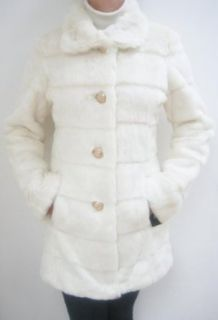 Guess Faux Fur Walker Coat, Jacket, White, Large, Mf557