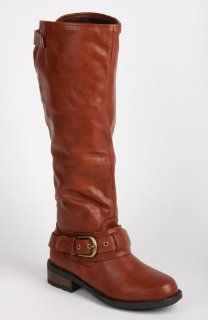 Qupid Relax 39 COGNAC Leatherette Knee High Riding Boot w