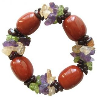 Good Luck Bracelet With Multi Gemstones And Fancy Red