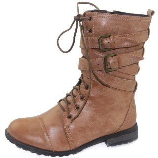 Tina 02 Camel Lace Up Military Combat Boots, Size 8.5 M US Shoes