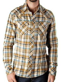 True Religion Mens Poplin Plaid Western Shirt 2XL