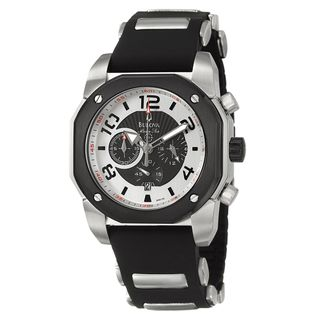 Bulova Mens Marine Star Chronograph Black Rubber Strap Watch
