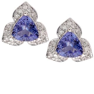 14 kt. White Gold Trillion Tanzanite 1/5 ct. Diamond Earrings