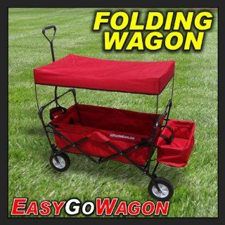 Childrens Red Pull Along Wagon. Unique Folding Design is