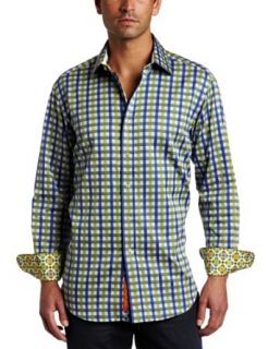 Robert Graham Mens Gifford Long Sleeve Shirt, Blue