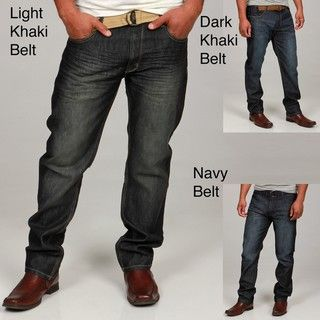 Paper Denim & Cloth Mens Belted Straight Leg Jeans