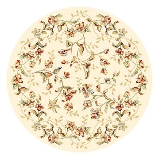Lyndhurst Collection Floral Beige Rug (4 11 Round)