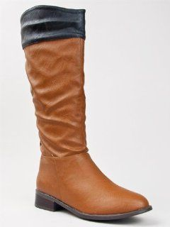 ASIANA 62 Two Tone Leatherette Knee High Riding Boot ZOOSHOO Shoes