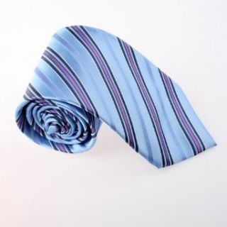 Blue Stripes Woven Silk Neckie Gift Box Set cornflower
