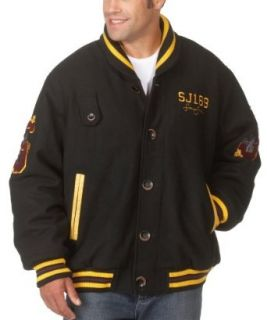 Sean John Mens Shawl Collar Varsity Jacket, Black, Large