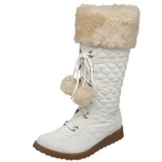 MUDD Womens Faux Fur Invasion Boot,Off White,5 M US Shoes