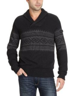 Ben Sherman Mens Shawl Collar Fairisle Sweater Clothing