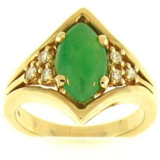 Mason Kay 14k Yellow Gold Natural Green Jadeite and 1/4ct TDW Diamond