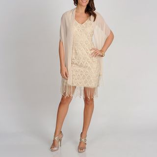 Ignite Evenings Womens Gold Sleeveless Lace Dress with Scarf