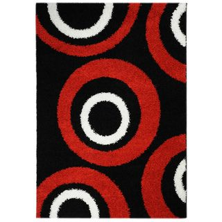 Shag Contemporary Circles Black Area Rug (67 x 93)