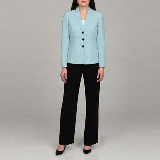 Tahari Womens Ocean Blue Three button Pant Suit
