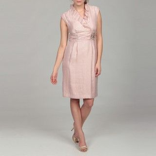Jessica Howard Womens Pink Ruffle Beaded Dress