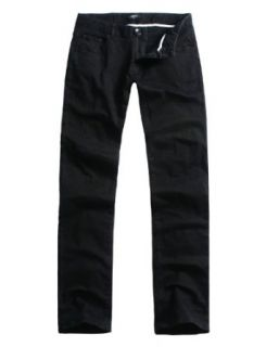 Doublju Mens Casual Slim Straight Black Denim Pants NONE M