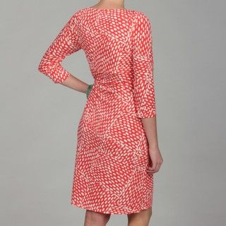 Jessica Howard Womens Coral Geometric Print Dress