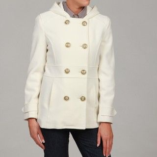 Kenneth Cole Reaction Womens White Hooded Peacoat FINAL SALE