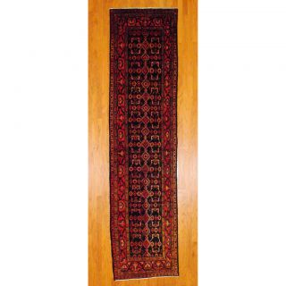 Persian Hand knotted Hamadan Navy/ Red Wool Rug (35 x 1311