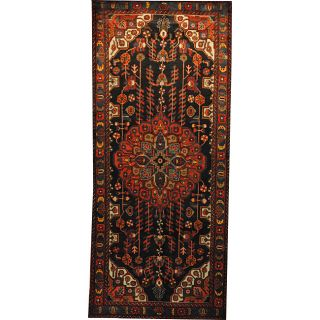 Persian Hand knotted Hamadan Navy/ Blue Wool Rug (48 x 109