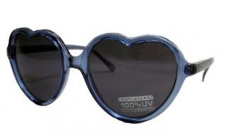 Heart Shaped Crystal Blue Lolita Sunglasses with Smoke