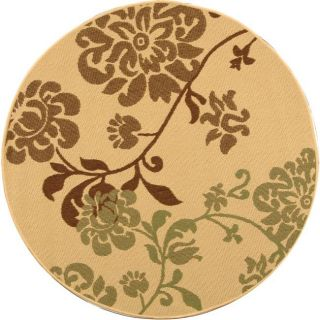 Indoor/ Outdoor Natural/ Olive Rug (53 Round)